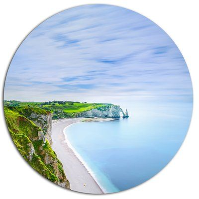 "DesignArt 'Etretat Aval Cliff and Rocks Normandy' Beach Photographic Print on Metal Size: 11"" H x 11"" W x 1"" D"