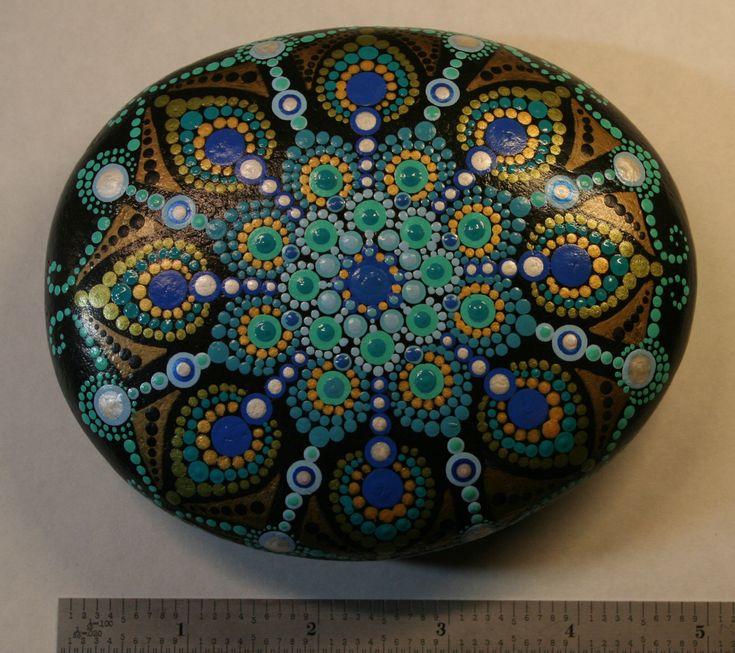 Large Peacock Feather Mandala Stone by Stoneinfinity on Etsy https://www.etsy.com/listing/561042559/large-peacock-feather-mandala-stone