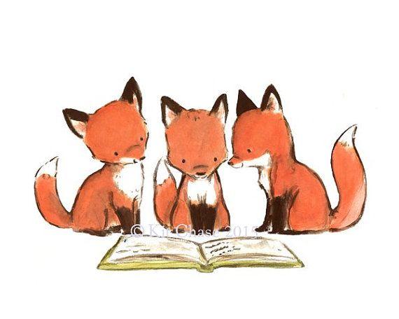 "Children's Art -- ""FOXY BOOK CLUB"" -- Archival Print"