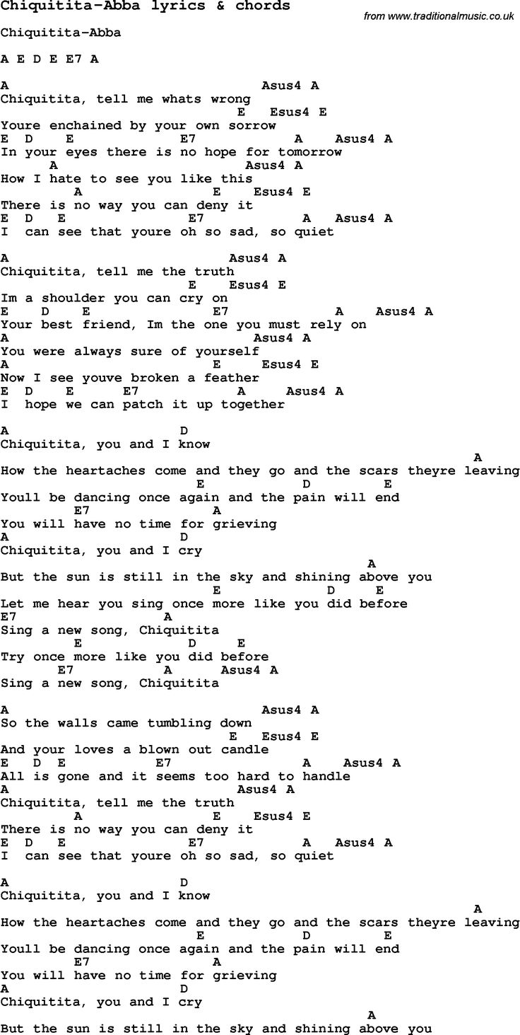 429 best ukulele images on pinterest charts music and pianos love song chiquitita abba with chords and lyrics for ukulele guitar banjo and other instruments hexwebz Gallery
