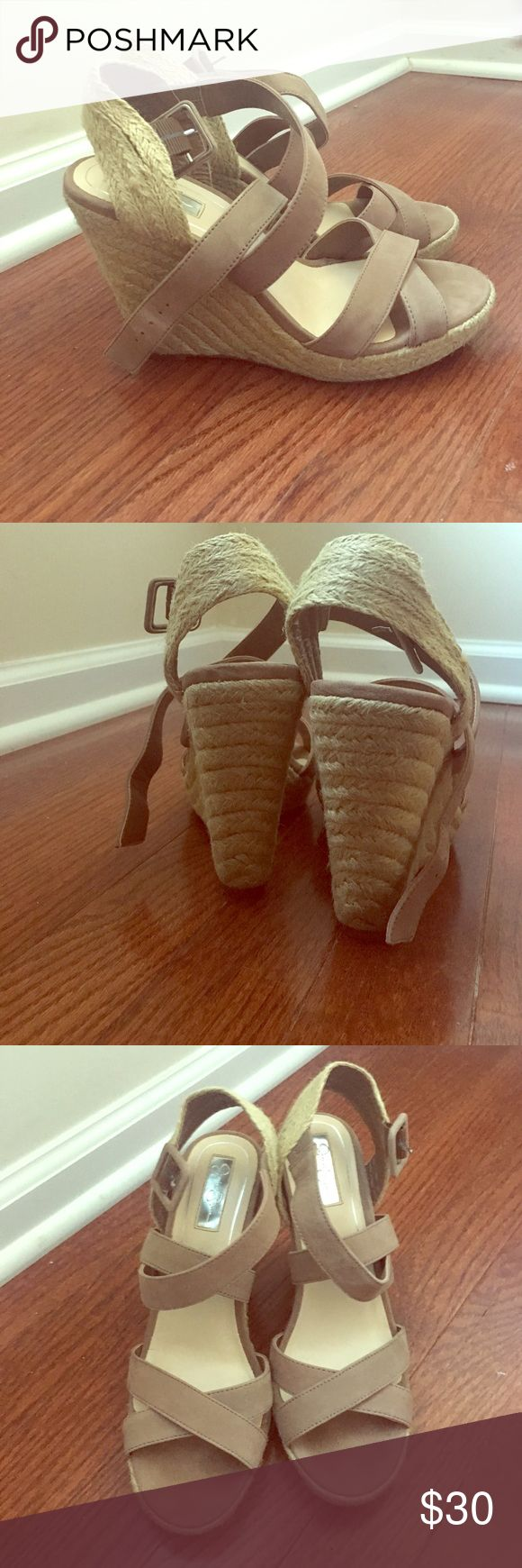 Jessica Simpson Wedges Jessica Simpson Jamey Taupe Wedges, Size 7, Worn One Time, Smoke Free Home. Has taupe colored straps across the top of the foot. Wedges are woven straw. Great for summer time outfits! Do not have the box anymore. Jessica Simpson Shoes Wedges
