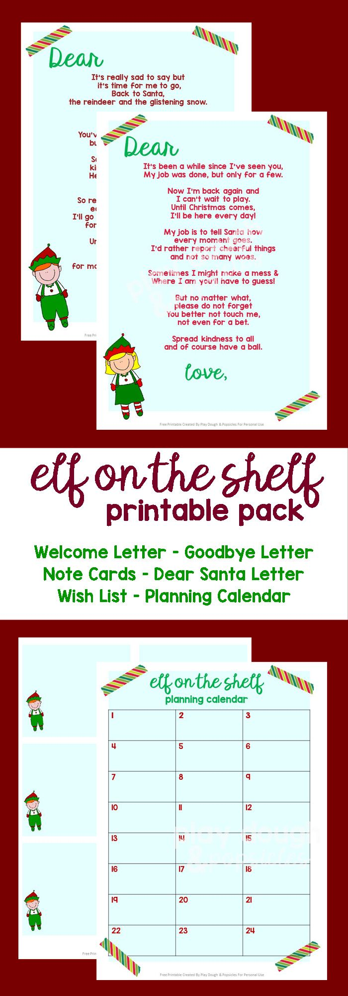 Elf On A Shelf 9 Page Printable Pack. Includes: Welcome & Goodbye Letters, Note Cards, Dear Santa Letter, Wish List, and Planning Calendar (for Mom and Dad).