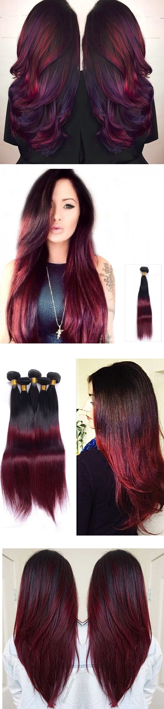 Moresoo 16 inch Balayage Red 100% Straight Remy Human Hair Clip in Hair Extensions Full Head 120 Grams Brazilian Hair