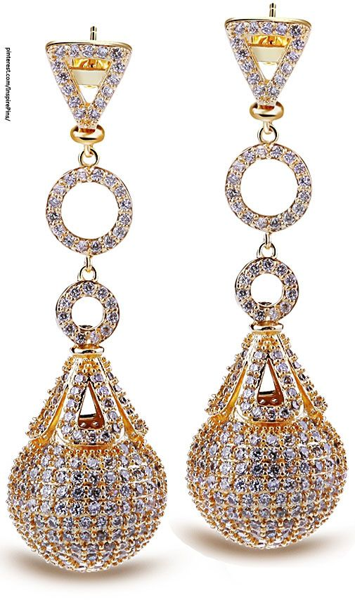 Gold Drop Earrings with Diamonds
