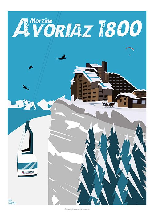 Tribute to Jean Vuarnet, initiator of the Avoriaz resort Its Choucas, old cable car, stone buildings, carriages, paragliders, gigantic firs and steep cliff, Affiche, Design, moderne, contemporrain, publicité, cagnes, art moderne, déco, poster, nice, village, côte d'azur, french riviera, galerie, art, mural, decoration, metropole, pub, ancienne, mer, grasse, cannes, monaco, france, made in france
