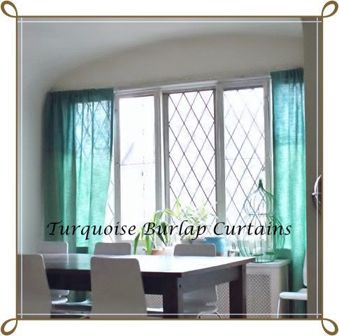 Coloured Burlap Curtain  Burlap Drapes  by AJRUSTICCREATIONS