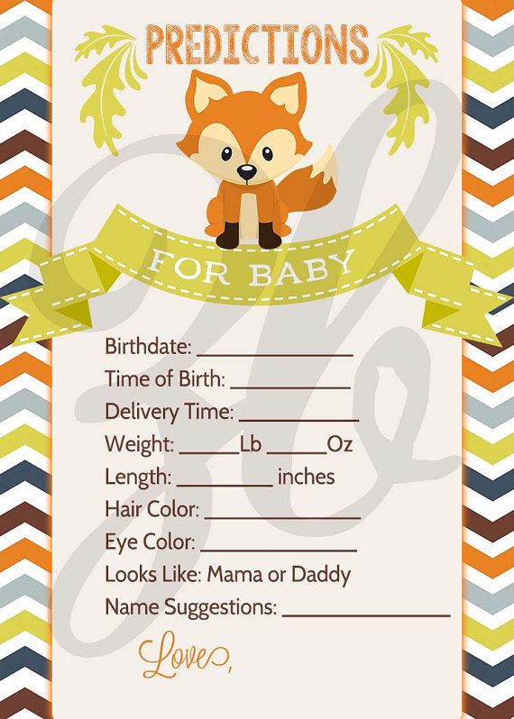 Fox Baby Shower Predictions Card Baby Fox Baby by ZoeyBlueDesigns