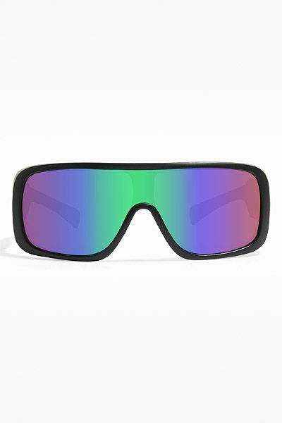 'Cyrus' Oversized Color Mirror Flat Top Sunglasses - Matte Black/Rainbow -  5443