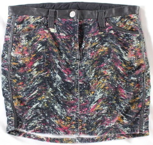 """~~~ A WORK OF ART ~~~ ISABEL MARANT """"ABSTRACT"""" LEATHER TRIM MINI SKIRT ~ 0 / XS"""