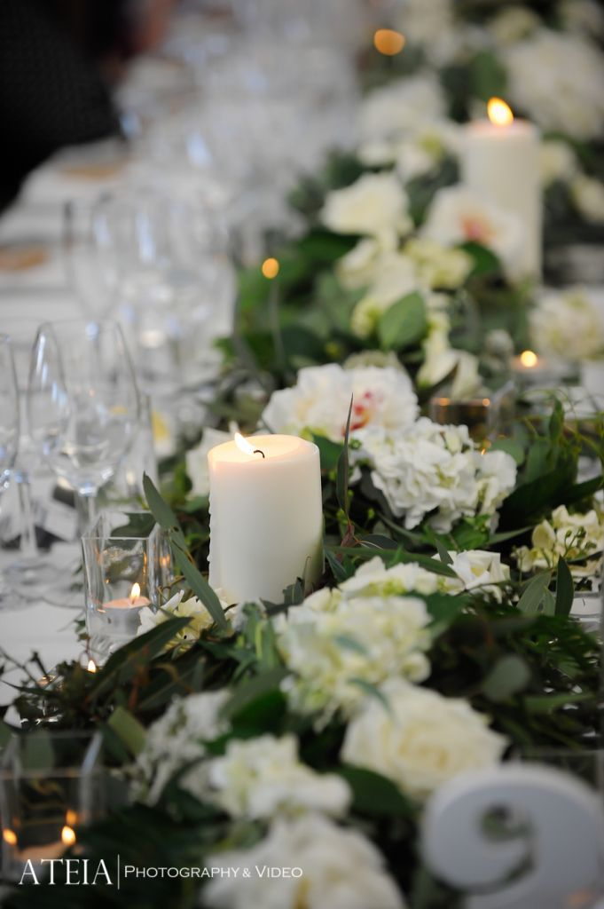 Cerise Ellen Wedding: My beautiful foliage with white flowers and candles table runner by Flos Florum at the Port Melbourne Yacht Club @peterrowland
