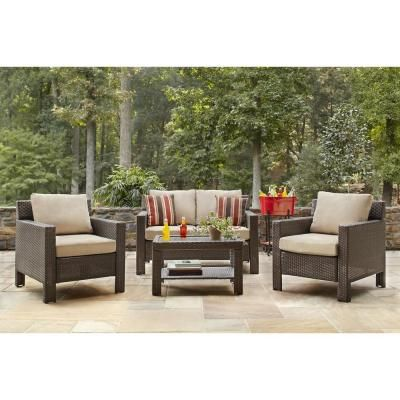 hampton bay beverly 4 piece patio deep seating set with beverly beige cushions 65 awesome home depot patio