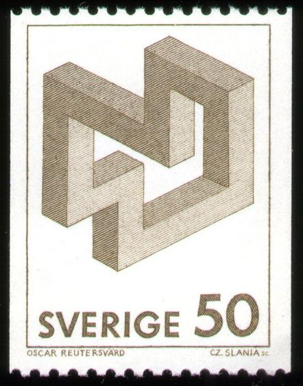 Oscar Reutersvärd stamp: Impossible Figures.  Isometric Perspectives, neglecting the Central Perspective. Water Color, 1982.