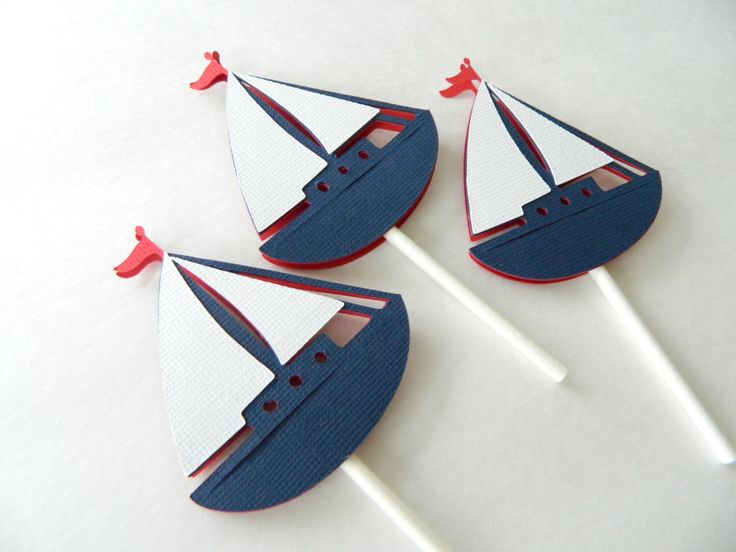 24 Sailboat Cupcake Toppers, Nautical Cupcake Toppers, Sailboats by 2muchpaper on Etsy https://www.etsy.com/listing/173577464/24-sailboat-cupcake-toppers-nautical