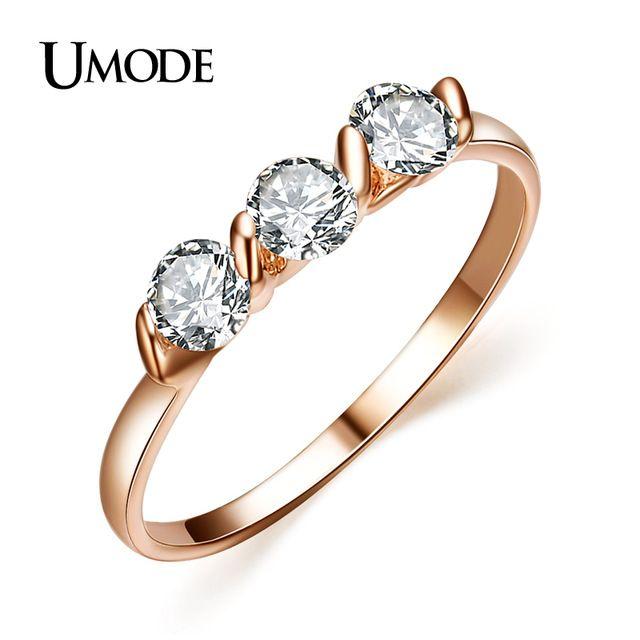 UMODE Женские ювелирные украшения: кольца с покрытием из розового золота 18к и 3 фианитами 0,25к JR0063A