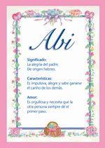 Abi - Nombres, El significado de los nombres, Tu nombre, Tarjetas postales TuParada.com