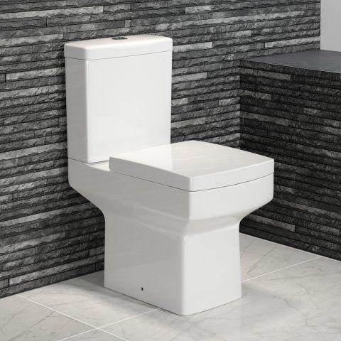 Modern Square Design Close Coupled Toilet and Cistern - soak.com