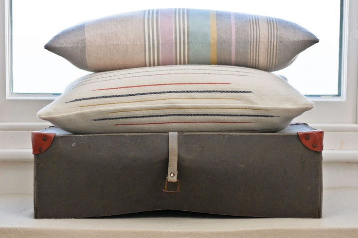 Hand made woven cushions by Laura Fletcher Textiles.