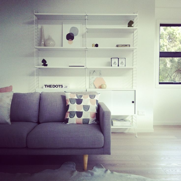 Lounge with string shelf