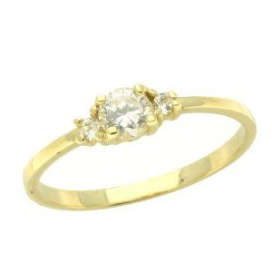 14K Baby Ring White CZ Yellow Gold Ring Size 2 To 3 For Baby, Kids And Teens Double Accent. $69.00