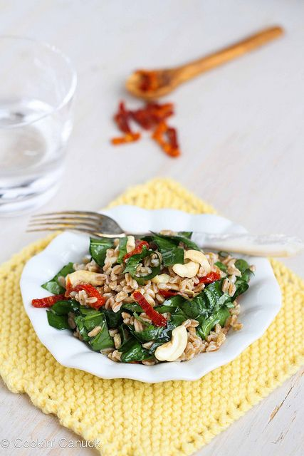 Farro Salad Recipe with Sun-Dried Tomatoes, Spinach  Cashews #salad #vegetarian #recipe by CookinCanuck, via Flickr