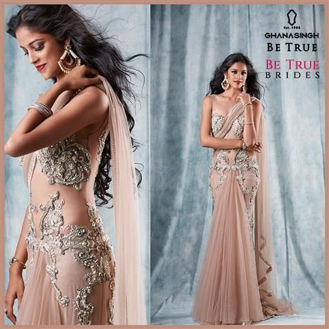 Cocktail Princess: #BeTrueBrides take on the trend of elegant cocktail gowns with grand bejewelled jhumkis & statement chandelier earrings.