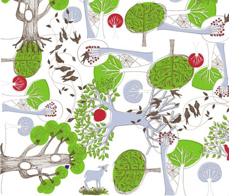 Wild Wood - Spring Green fabric by mollymacliving on Spoonflower - custom fabric