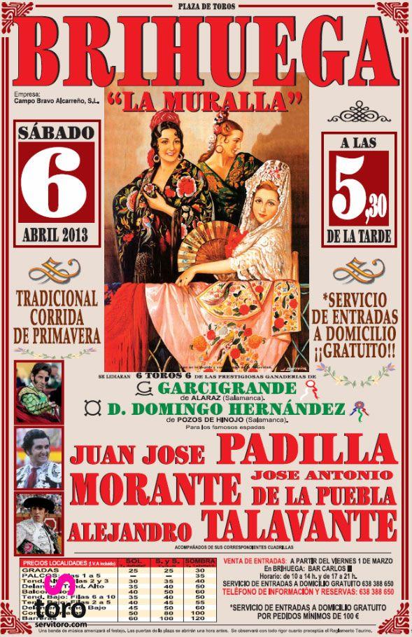 Cartel taurino Brihuega, Guadalajara. Tradicional corrida de primavera. http://www.servitoro.com/Entradas-Toros-Brihuega.html