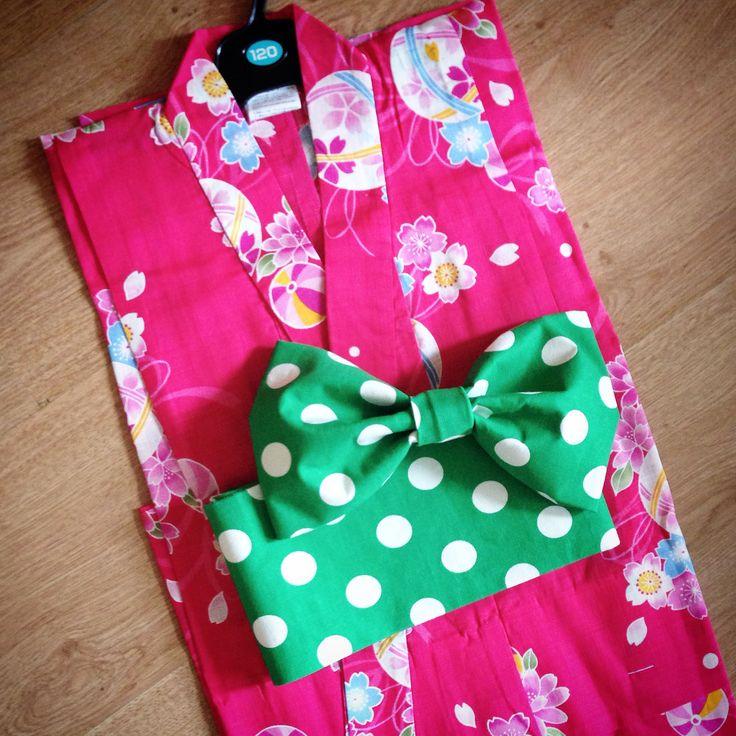 子供浴衣&作り帯set  緑ドット 120 (浴衣は日本から取り寄せました)