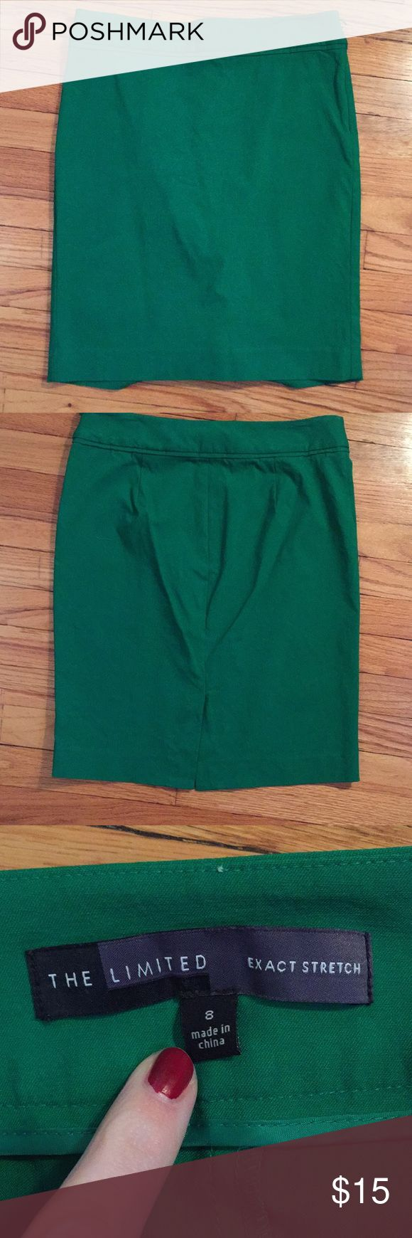 "The Limited Exact Stretch green pencil skirt Green pencil skirt from the Limited. Only worn 1-2 times. Has been machine washed and never put through the dryer. Measures 15.5"" across the top. 17.5"" at the hips, and 20.5"" top to bottom. This has a very fitted style. I also have the identical skirt in black listed in my closet!  Questions, bundles, and reasonable offers welcomed! The Limited Skirts Pencil"