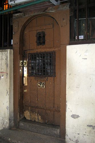 The door to Chumley's, one of the best speakeasies in the Village.