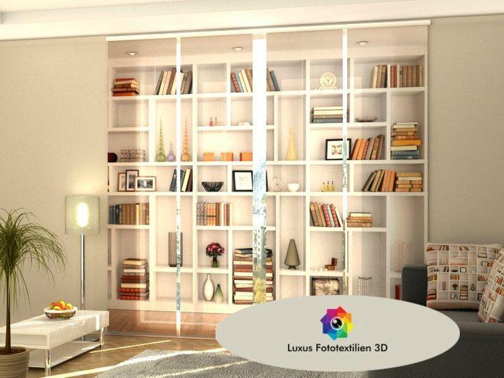 """Schiebegardine """"Bücherregal"""" Schiebevorhang 4-er Set in Luxus Fotodruck 3D auf Maß. kaufen bei Hood.de"""