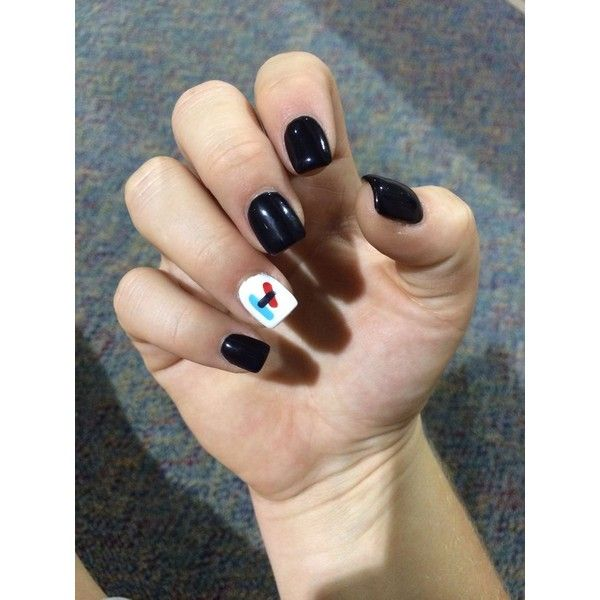 Twenty one pilots nails! ❤ liked on Polyvore featuring beauty products and nail care