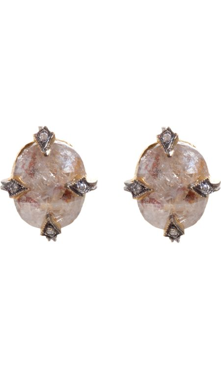 Cathy Waterman Rustic Diamond Stud Earrings