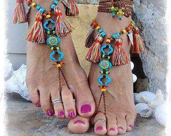 TIGER EYE Barefoot SANDALS geel Turquoise bruiloft door GPyoga