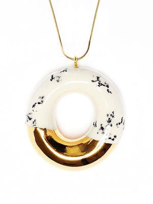 "TADAM! - Concept jewellery kitchen Handmade ceramic pendants TADAM! ""The Sweet Course for Your Eyes"" #jewelry #pendant #doughnut #dessert #chocolate #accessory #fashion #handmade  Find it at http://www.mokosh.dk/our-talents/tadam/"