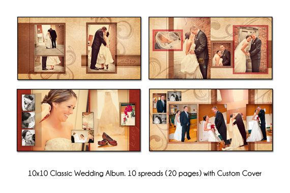 PSD Wedding Album Template - AUTUMN SWIRL - 12x12 10spread (20 - photo album templates free