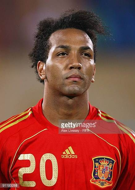 Emilio Nsue of Spain lines up prior to the FIFA U20 World Cup Group B match between Spain and Tahiti at the Al Salam Stadium on September 25 2009 in...