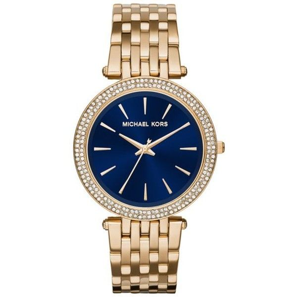 Michael Kors Blue Womens Gold-Tone Plated Darci Watch - Women's (€225) ❤ liked on Polyvore featuring jewelry, watches, blue, blue jewelry, michael kors jewelry, goldtone jewelry, gold tone jewelry and gold tone watches