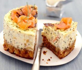 CHEESE CAKE AU SAUMON FUME (Pour 4 P : 110 g de crakers - 70 g de beurre - 200 g de fromage frais type Carré frais ou Saint-Moret - 2 c à s de fromage blanc - 2 œufs - 4 tranches de saumon fumé - 1 botte de ciboulette - 1 jus de citron)