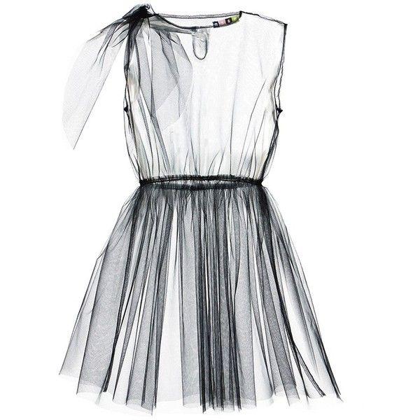 MSGM Black Tulle Dress Overlay (€205) ❤ liked on Polyvore featuring dresses, black, msgm dress, overlay dress, lbd dress, little black dress and tulle dress
