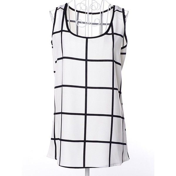 Scoop Neck Plaid Chiffon tank top ($8) ❤ liked on Polyvore featuring tops, white scoop neck tank top, plaid tank top, scoopneck tank, white scoop neck top and white chiffon tank