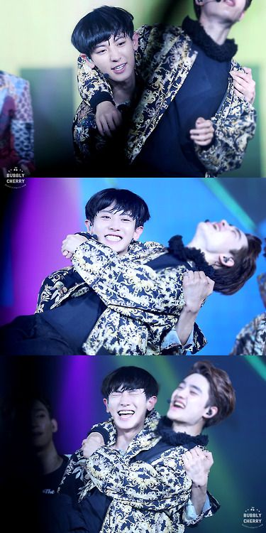 EXO | CHANSOO haha hes so weak but still picks him up and is obviously in a lot of struggle but still looks so happy!!!~~~ I love you both so much!!