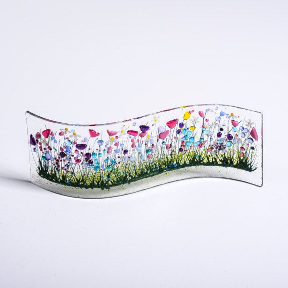 Handcrafted Fused Glass Art  Wild Garden Wave