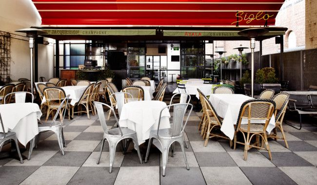 Siglo, Melbourne Above The Melbourne Supper Club is Siglo, a rooftop terrace overlooking St Patrick's Cathedral and Parliament House in Melbourne's CBD. Like the restaurant below, Siglo's late-night menu makes it a stylish choice for a casual supper.