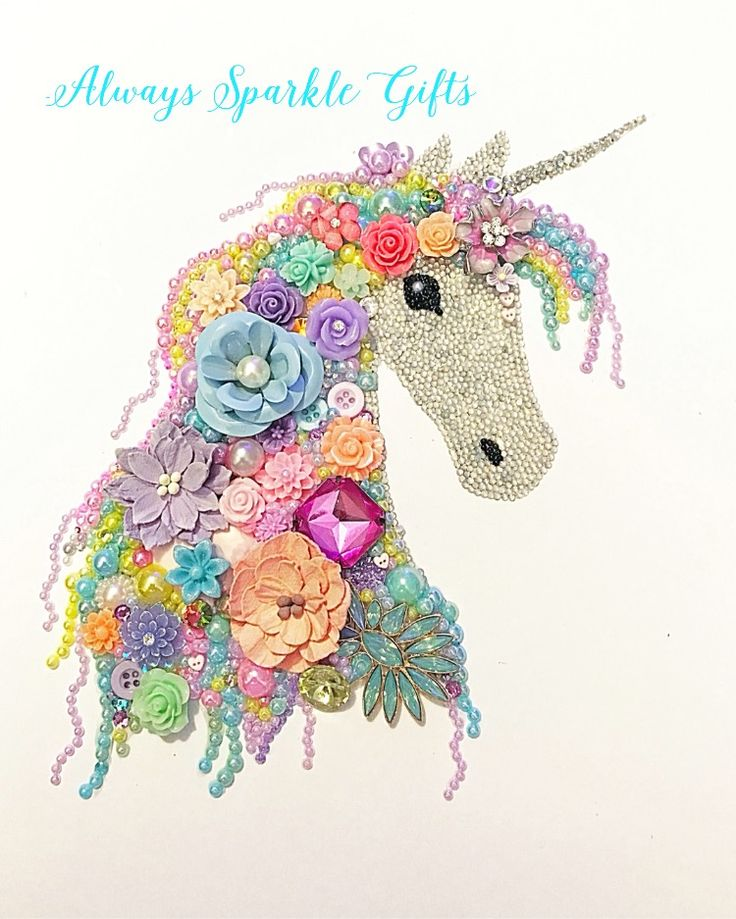 """Unicorns and rainbows themed Button art.  Prices start from £65.00  """"Always Sparkle Gifts"""""""