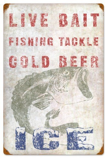 LIVE BAIT FISHING TACKLE COLD BEER METAL SIGN PA in Collectibles   eBay