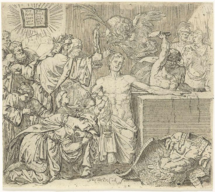 Jan Claudius de Cock | Marteling van de heilige Quirinus van Neuss, Jan Claudius de Cock, c. 1683 - before 1736 | De heilige ligt in het midden geknield bij een blok waarop hij zijn linkerhand heeft neer gelegd. Rechts staat een beul op het punt om Quirinus de hand af te hakken. Naast Quirinus knielt een vrouw op de grond met de afgehakte hand van de heilige.