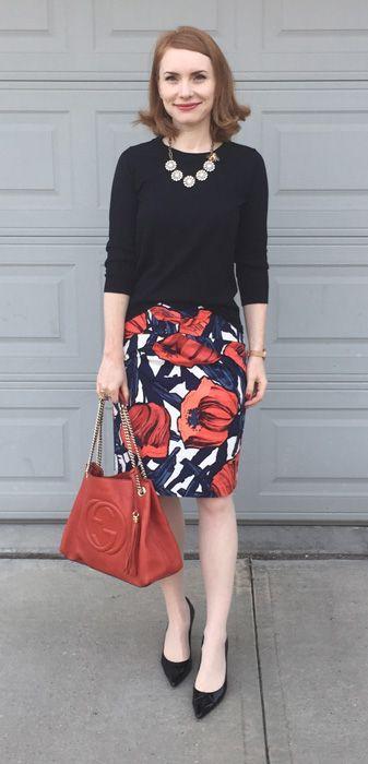 Skirt, Anthropologie (via eBay); sweater, J. Crew Factory; shoes, Stuart…