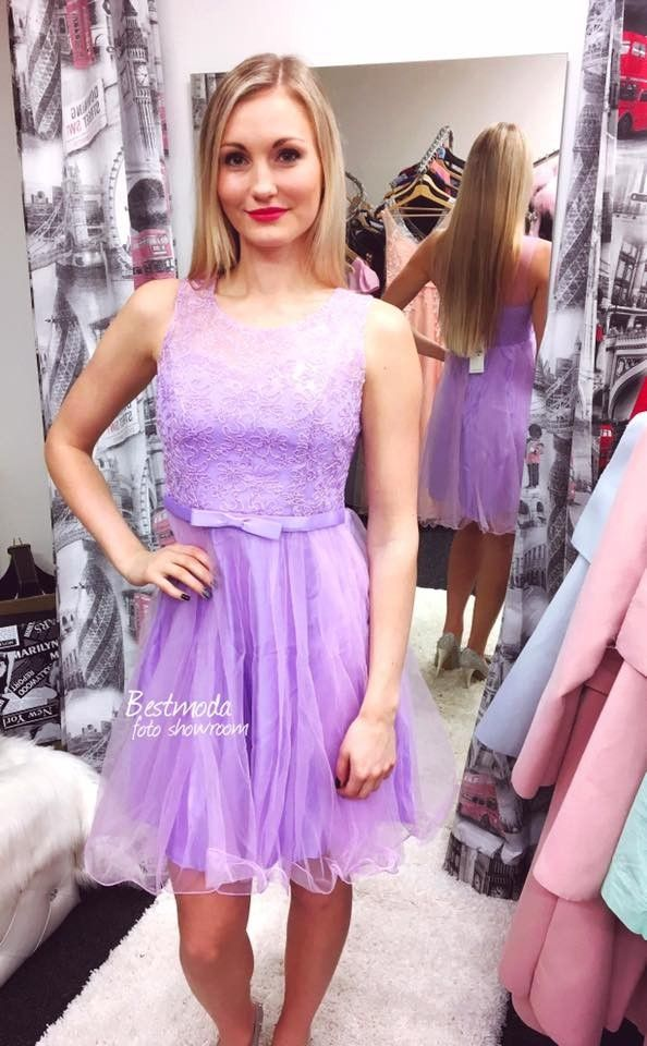 Violet cocktail dress in stock