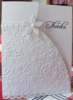 "Love the embossing on the bottom of the dress. Great wedding card with ""congratulations' instead"